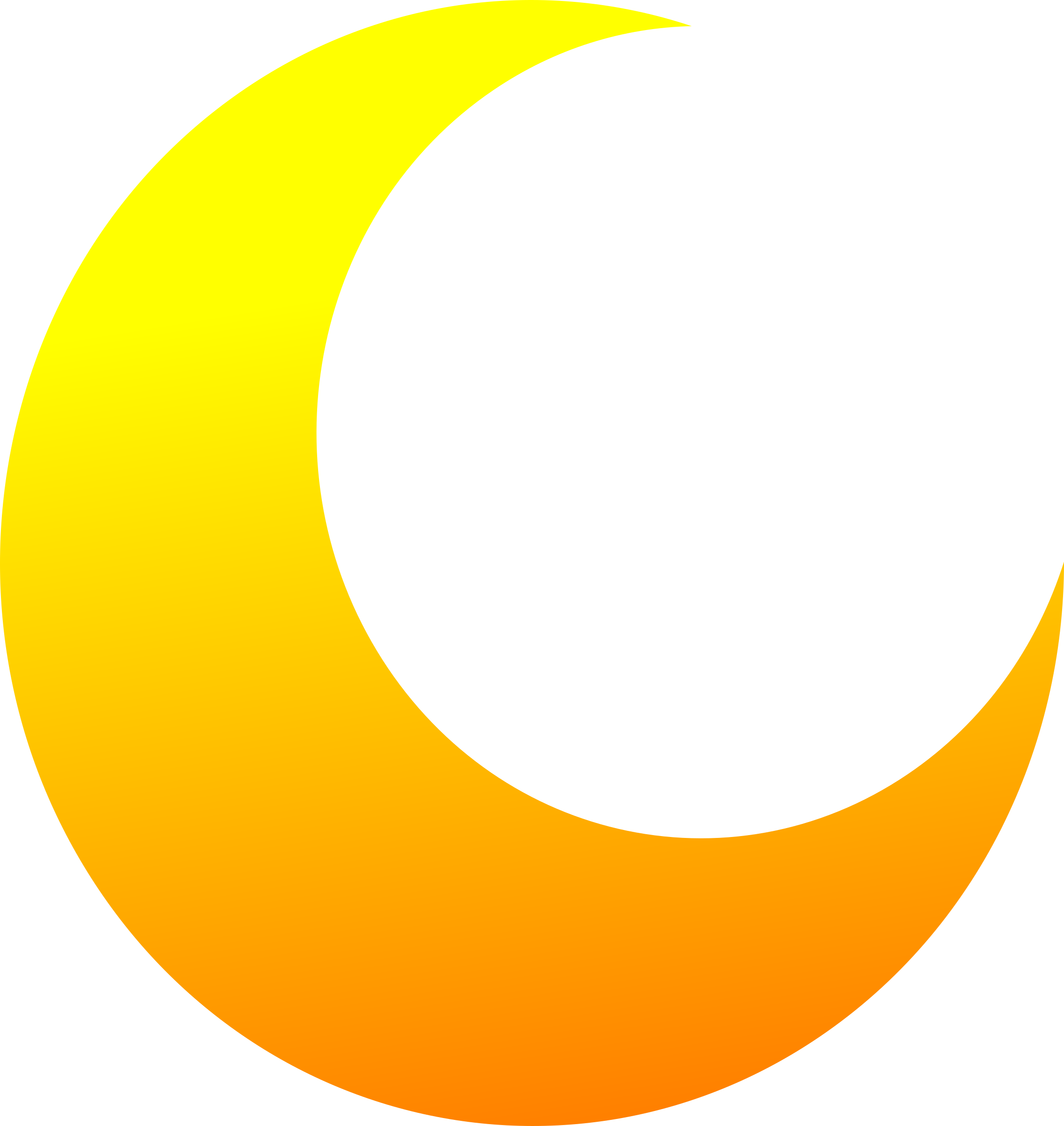 Yellow Crescent Half Moon Vector Clipart.
