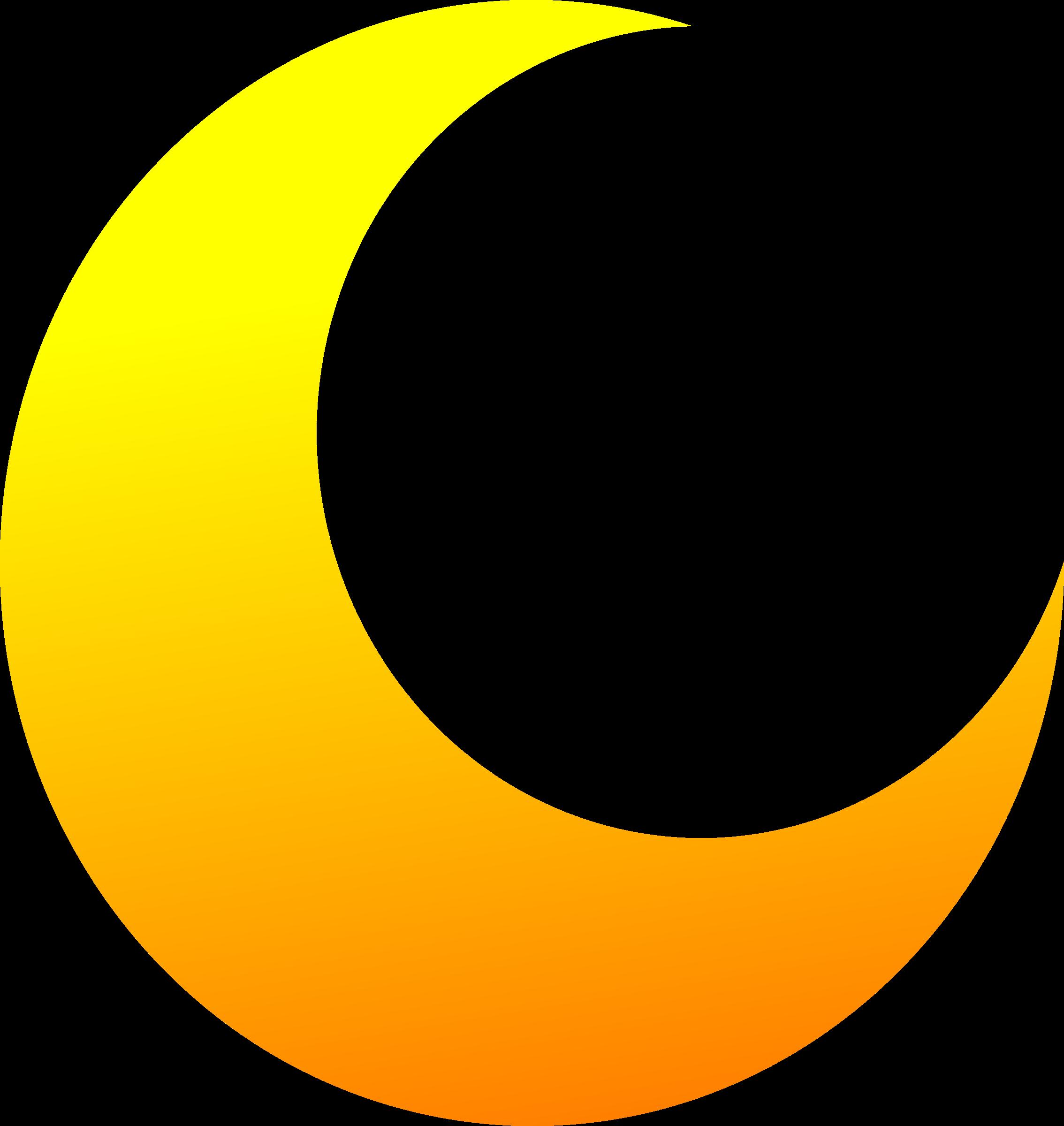 Yellow Crescent Half Moon Vector Clipart.