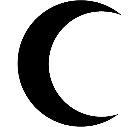 solid black crescent moon clipart sticker.