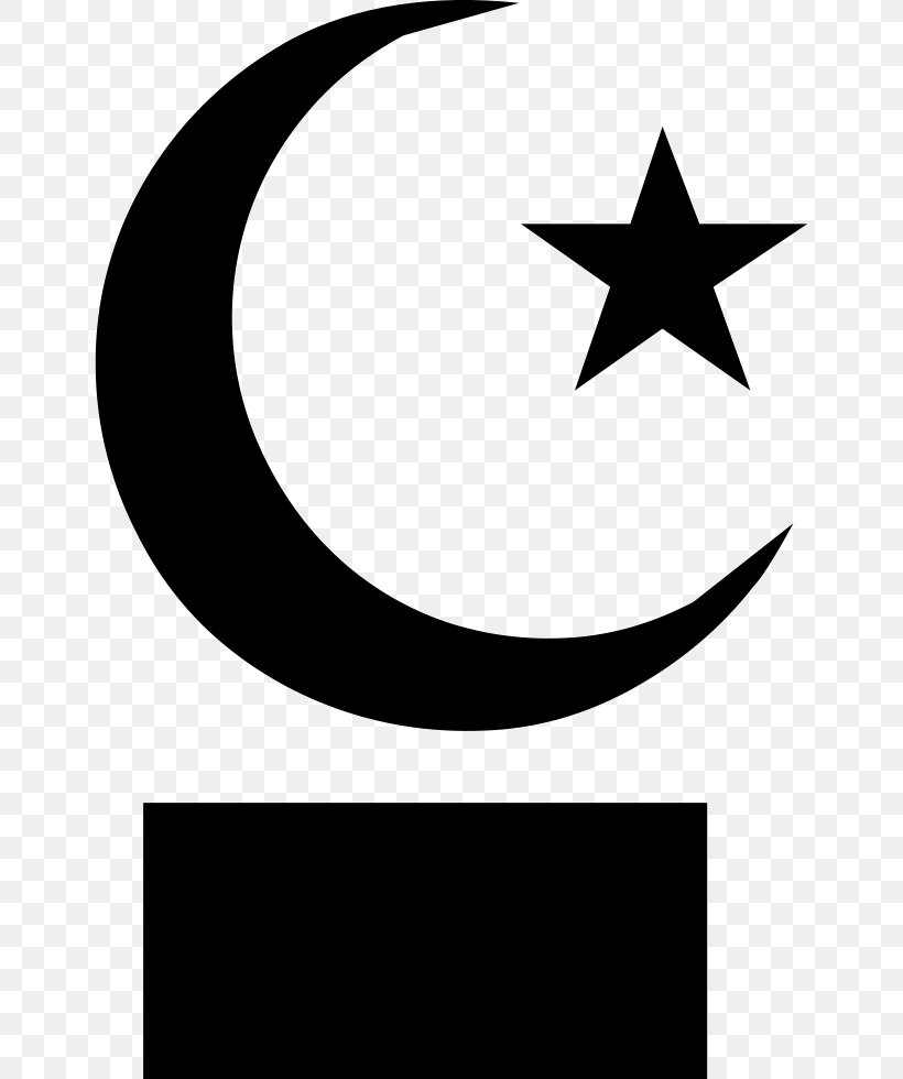 Star And Crescent Moon Symbols Of Islam Clip Art, PNG.