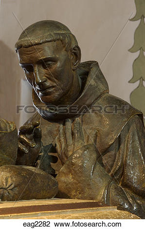 Stock Photo of Statue of Father Crespi presiding over Father.