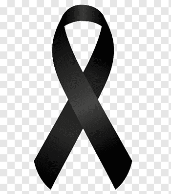 Black awareness ribbon illustration, Mourning Black ribbon.