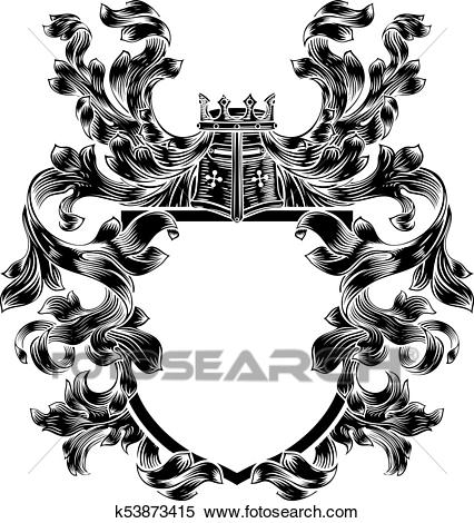 Shield Knight Heraldic Crest Coat of Arms Emblem Clipart.