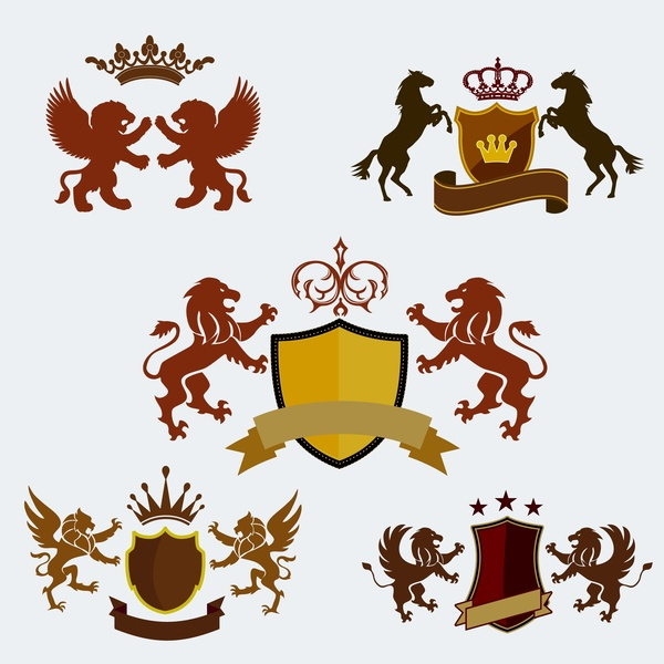 Royal logo sets design with crest and animals Free vector in Adobe.