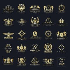 Luxury royal crest logo collection design for hotel and.