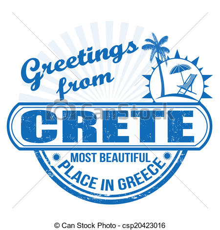 Vector Clip Art of Greetings from Crete stamp.