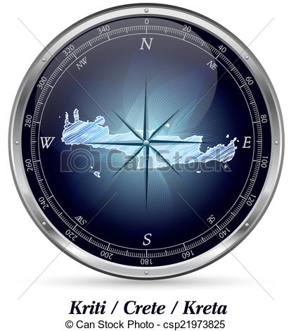 Clip Art of Map of Crete with borders in chrome csp21973825.