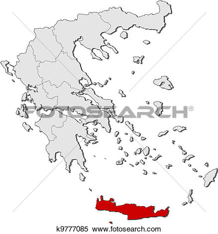 Clipart of Map of Greece, Crete highlighted k9777085.