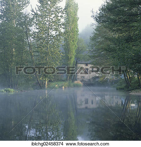 "Stock Photo of ""Creuse river towards Gueret, water mill, Creuse."