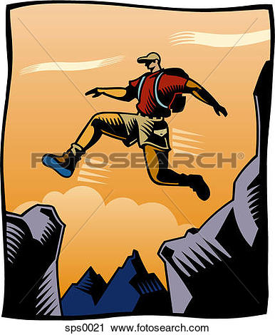 Clipart of A man jumping over a crevasse sps0021.
