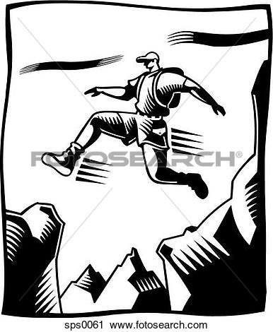 Clipart of A black and white drawing of a man jumping over a.