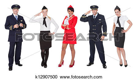 Stock Photography of Flight crew members, pilots, stewardesses.