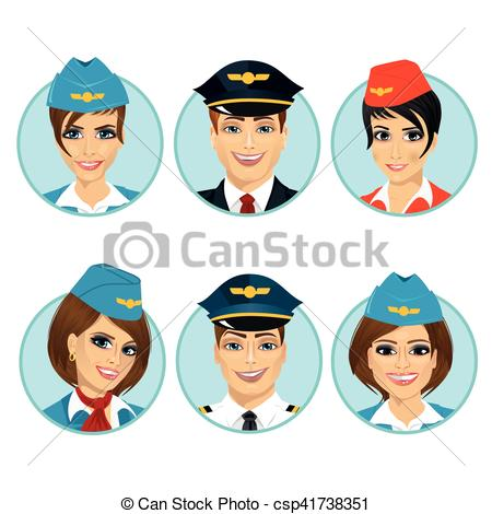 Clipart Vector of air crew member avatars of pilots and.