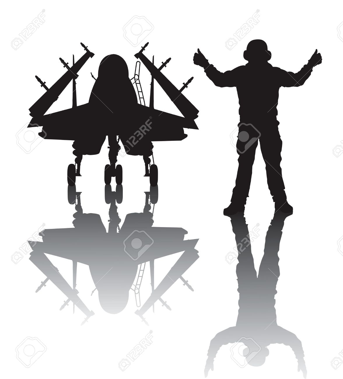 Naval Aircraft And Crewman Vector Silhouette With Reflection.