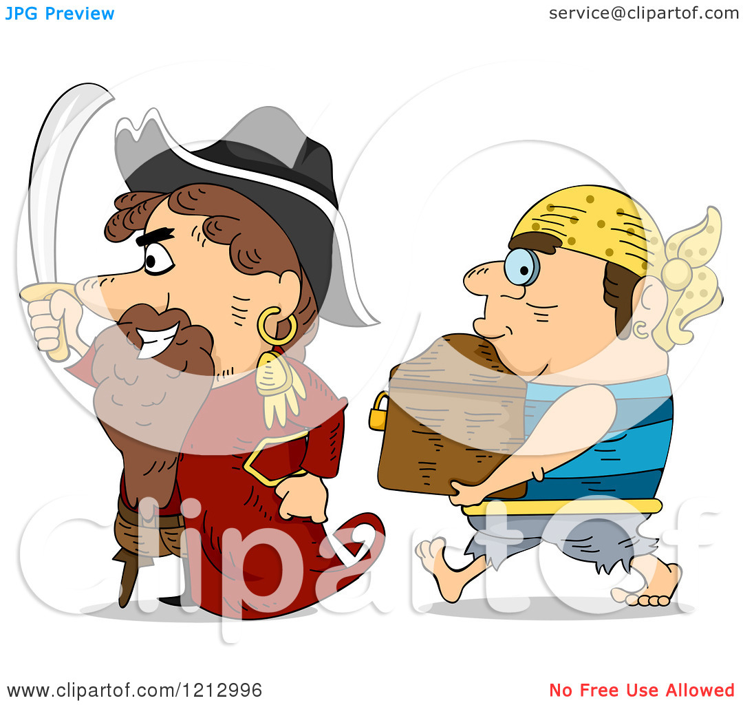 Clipart of a Pirate Captain and Crew Man with a Treasure Chest.