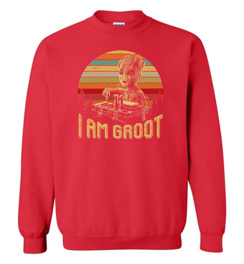 Cool Retro Groot With Noise Clipart Rocket Exposion Star Wars Crewneck  Sweatshirt.