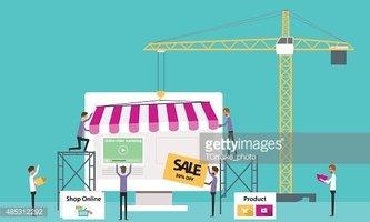 Loja Online DE Negócios Vetor Criar Negócios Online imagens.