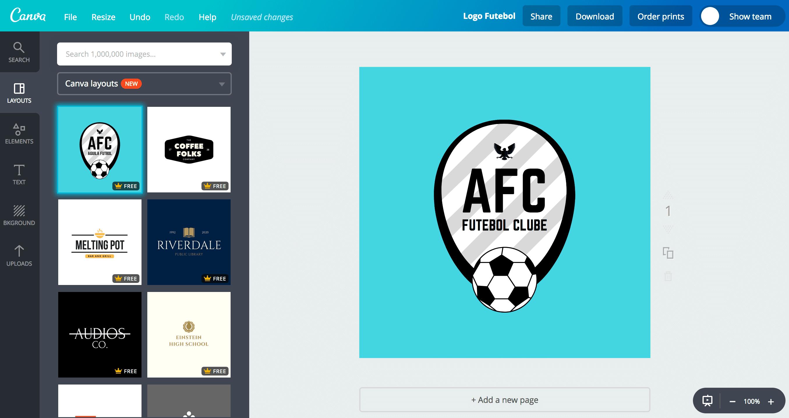Faça você mesmo um logo para seu time de futebol.