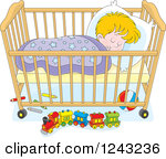 Clipart Illustration of a White Girl's Baby Crib In A Nursery With.