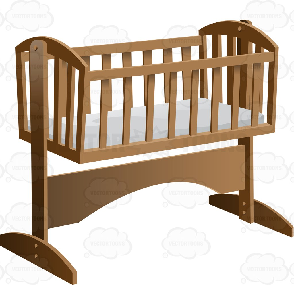 An Old Fashioned Rocking Baby Crib With Mattress Cartoon Clipart.
