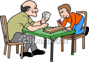 Boy Playing Cribbage with His Grandpa.