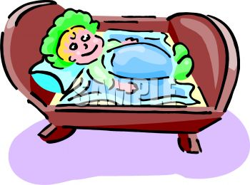 Clip Art Illustration Of A Happy Baby Laying In Her Crib.