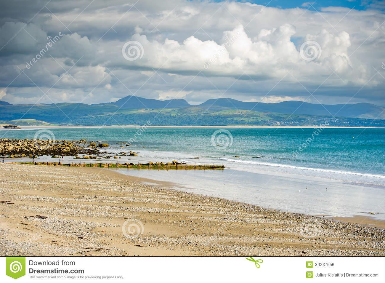Criccieth Beach, Gwynedd, Wales Royalty Free Stock Image.