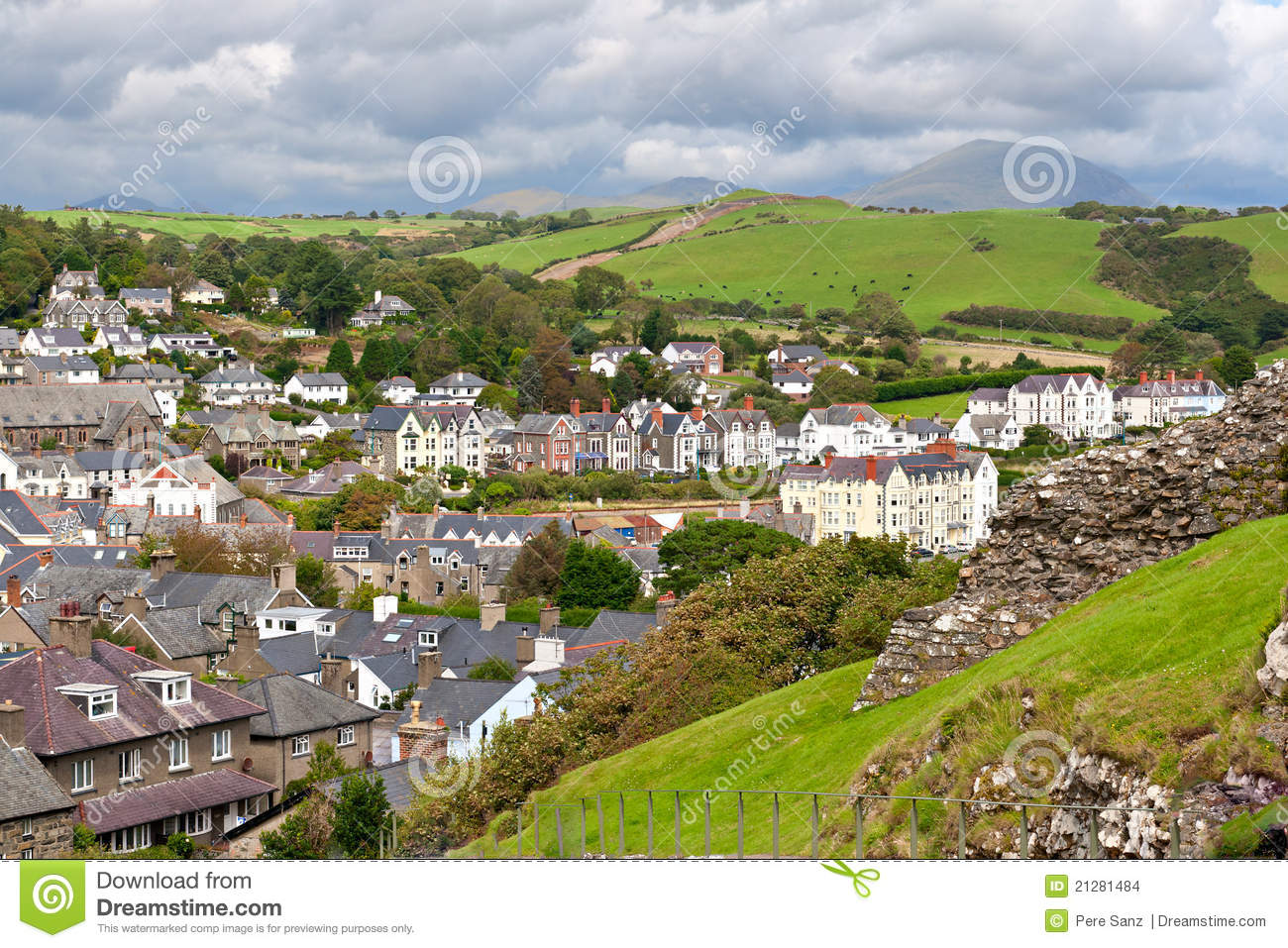 Criccieth Village In North Wales Stock Images.