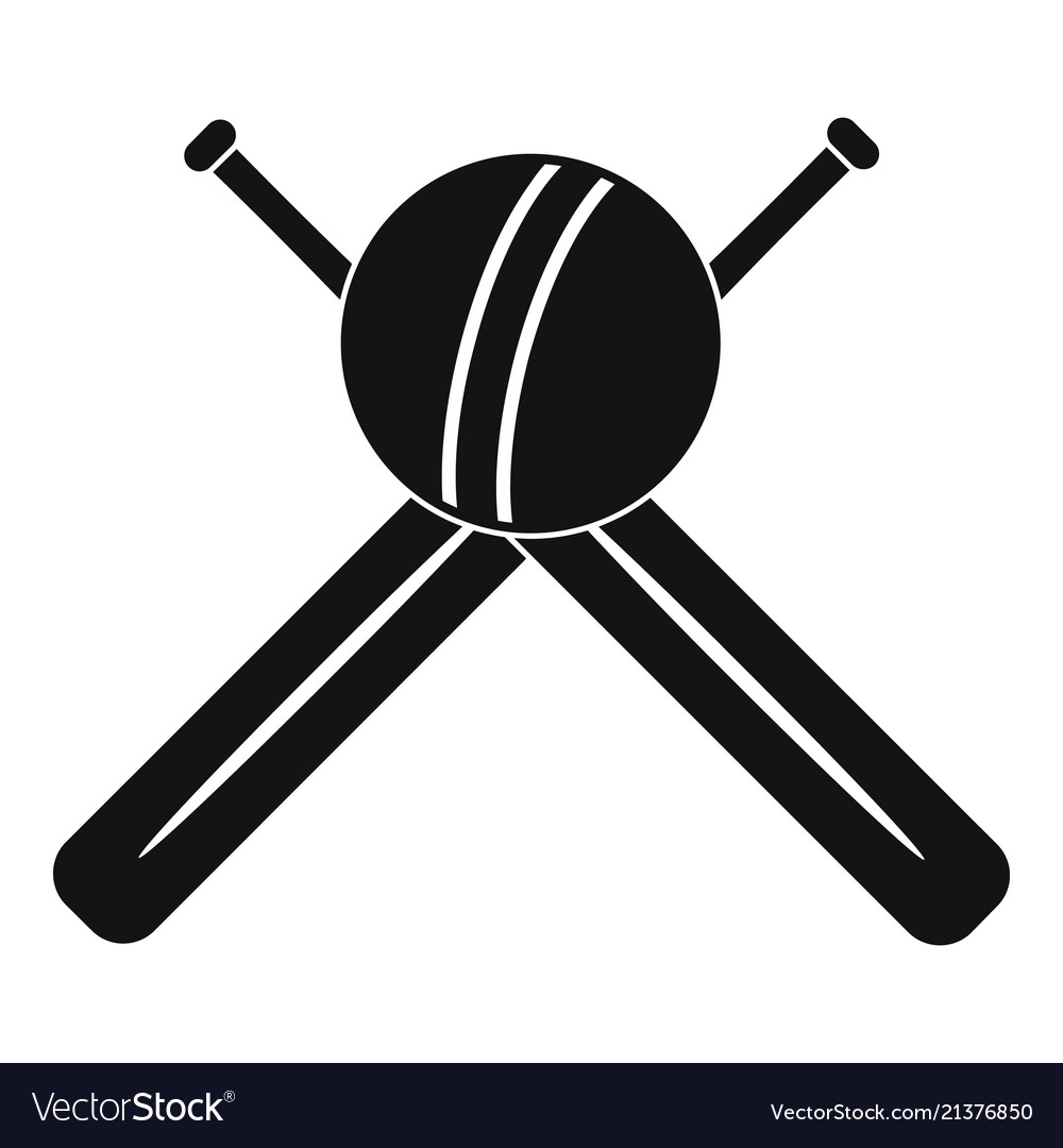 Cricket ball and bats logo simple style.