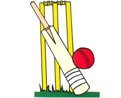 Cricket bat and ball clipart.