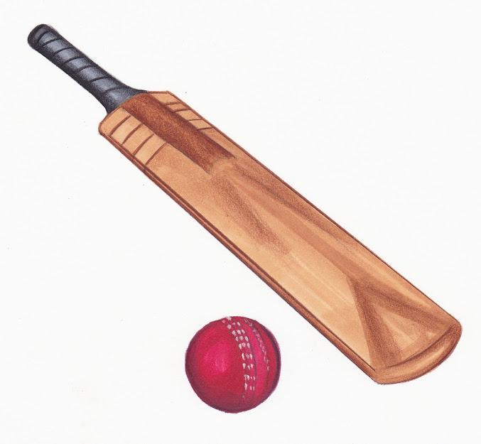 Cricket ball and bat clipart.