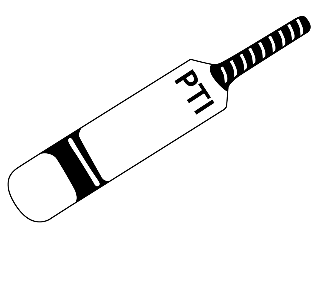 Cricket bat clipart black and white.