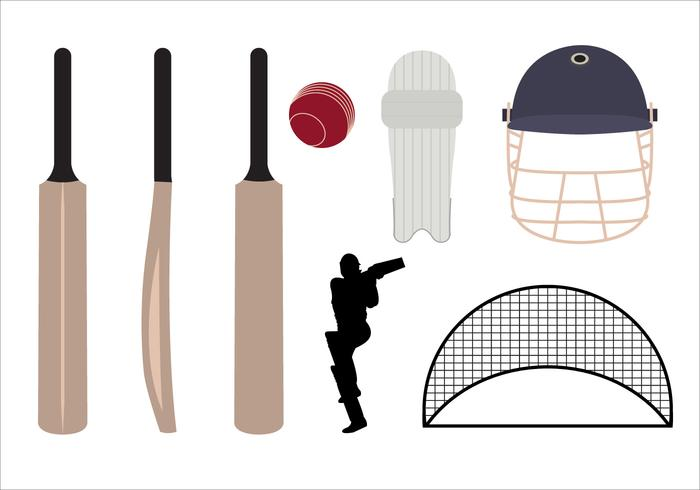 Set of Cricket Symbols and Objects in Vector.