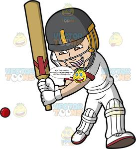 A Cricket Batsman Getting Ready To Hit The Ball.