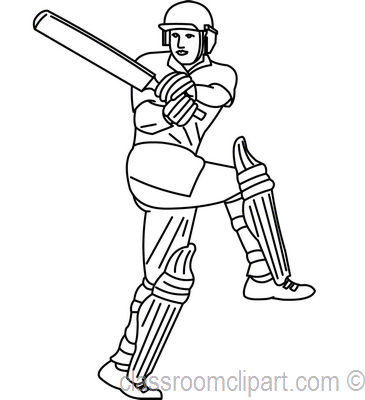Cricket Player Clipart Black And White.