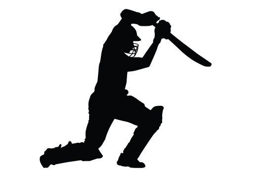 Cricket bating silhouette vector.