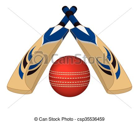 Clipart Vector of Cricket bats crossed with ball.