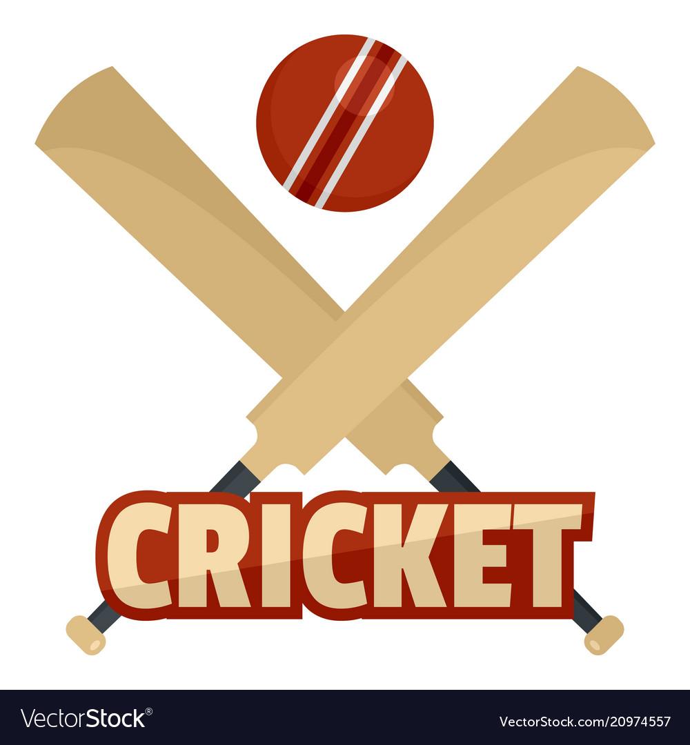 Trendy cricket logo flat style.