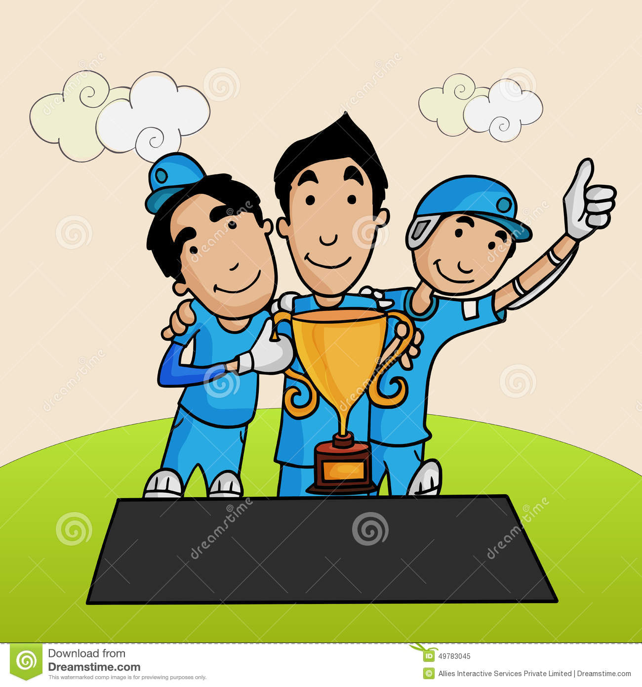 Cricket Players With Winning Trophy. Stock Illustration.