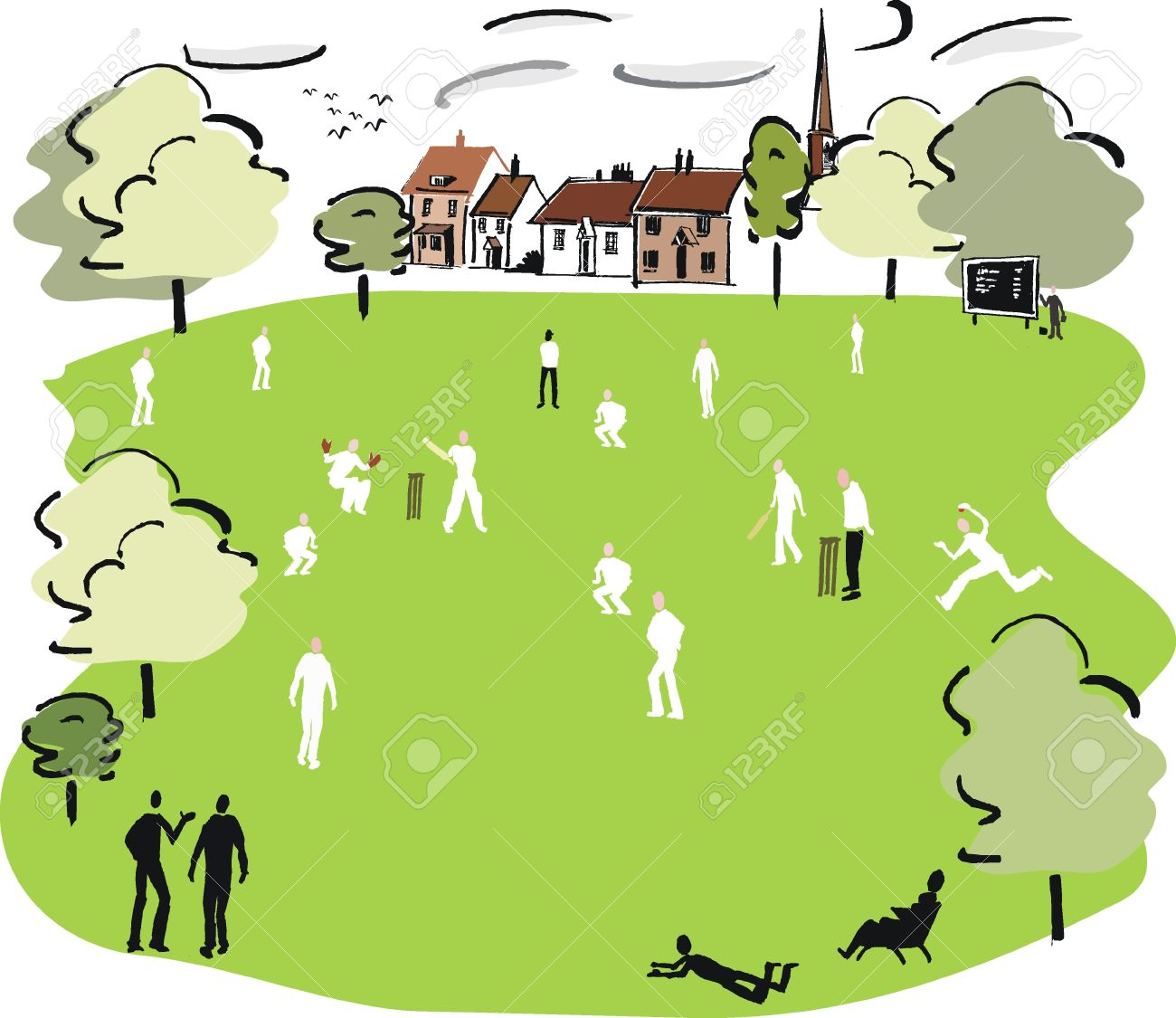 Cricket Match Illustration Royalty Free Cliparts, Vectors, And.