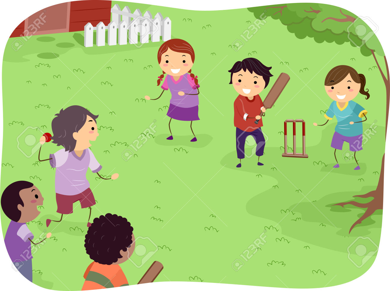 Cricket match clipart #4