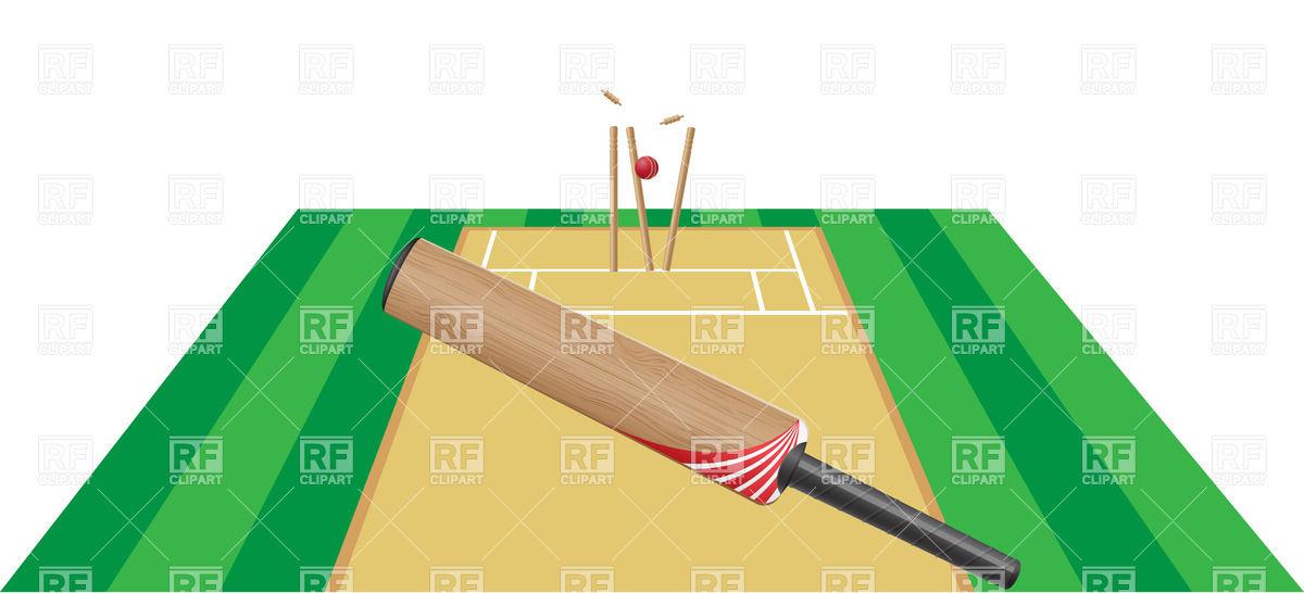 Cricket bat and cricket pitch layout Vector Image #20960.
