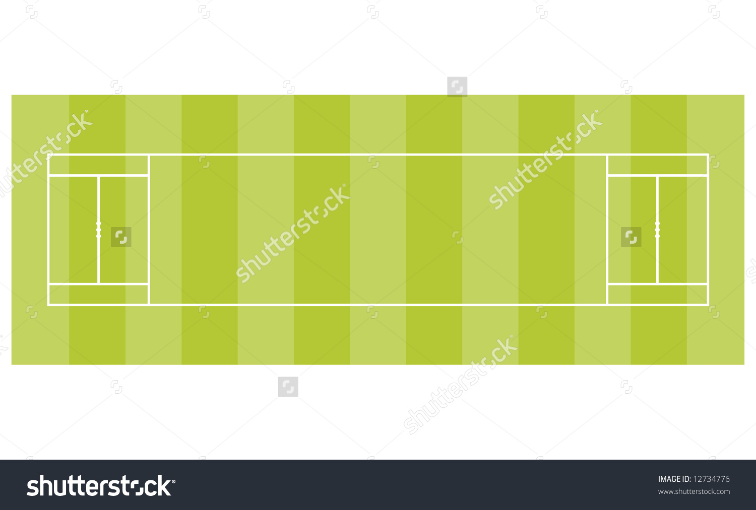 Cricket Pitch Over Head View Stock Illustration 12734776.