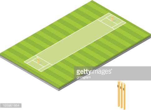 Isometric Cricket Pitch Vector Art.