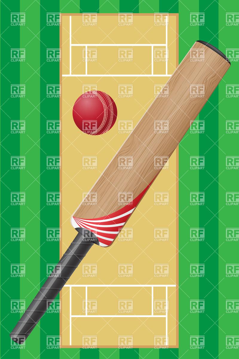Cricket bat and indoor cricket pitch layout Vector Image #20958.