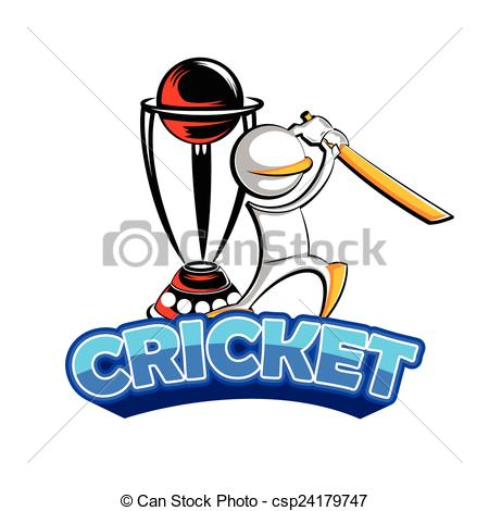 EPS Vector of Cricket batman playing with trophy.