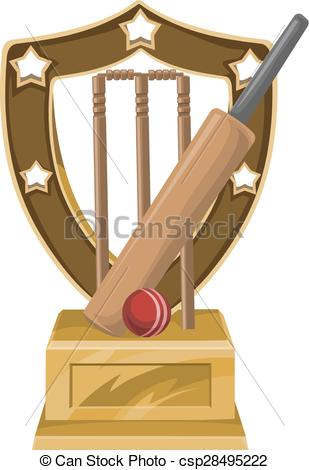 Clipart Vector of Stadium of cricket with bat, ball and trophy.