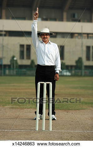 Umpire signaling out, Cricket Stock Image.