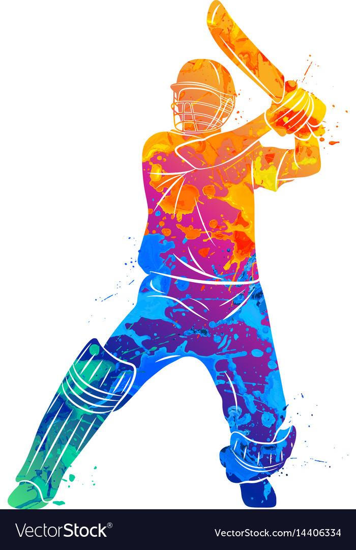 Abstract batsman playing cricket.
