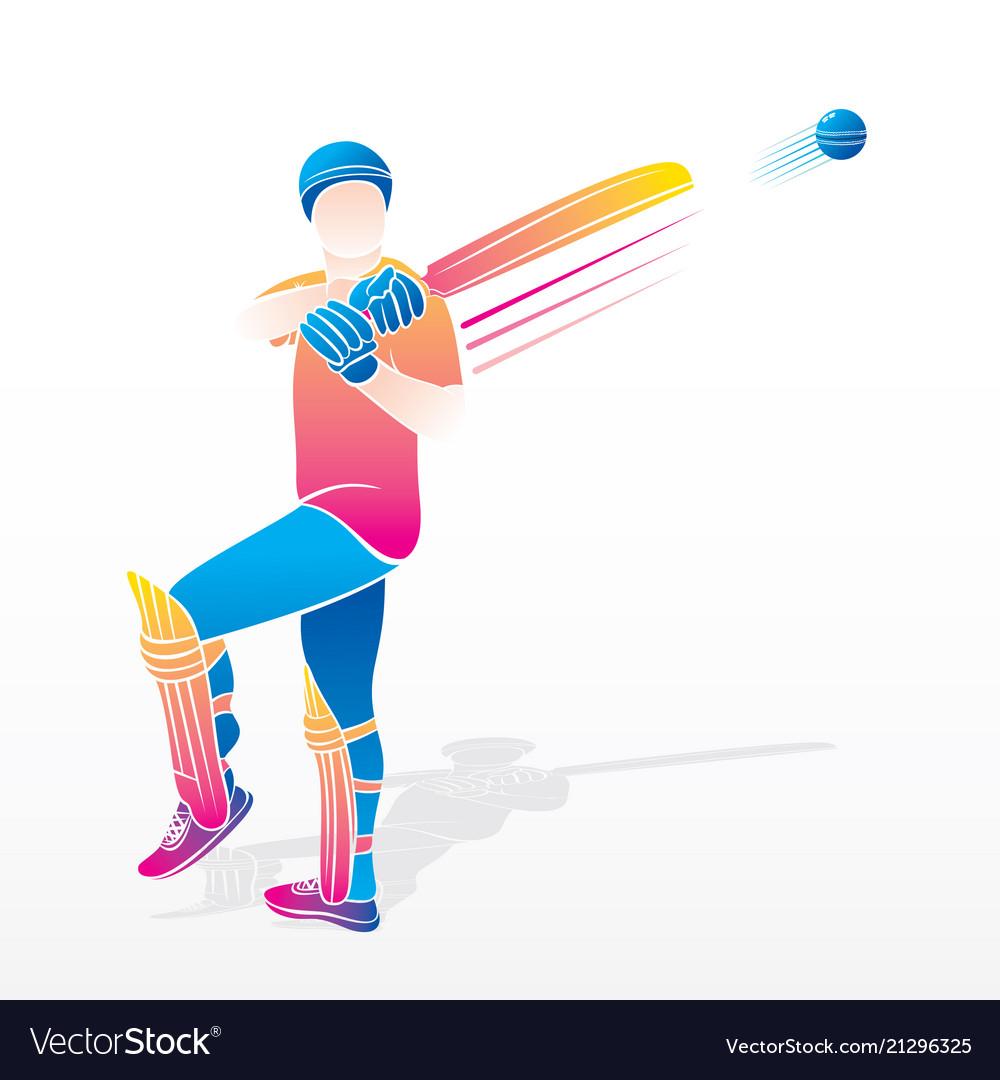 Cricket player hitting shot.